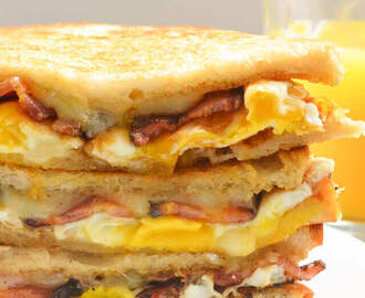 Bacon and Egg Grilled Cheese Breakfast Sandwiches