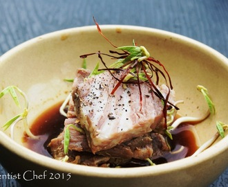 Recipe Sous Vide Kobe Wagyu Beef, Served Cold with Kaffir Limes Shoyu Ponzu, Silgochu (Korean Chili Strand) & Bean Sprout