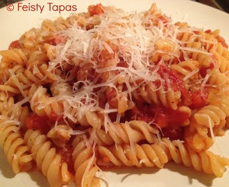 Pasta with chorizo in a tomato sauce