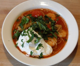 Quick Tom Yum Soup with Poached Egg