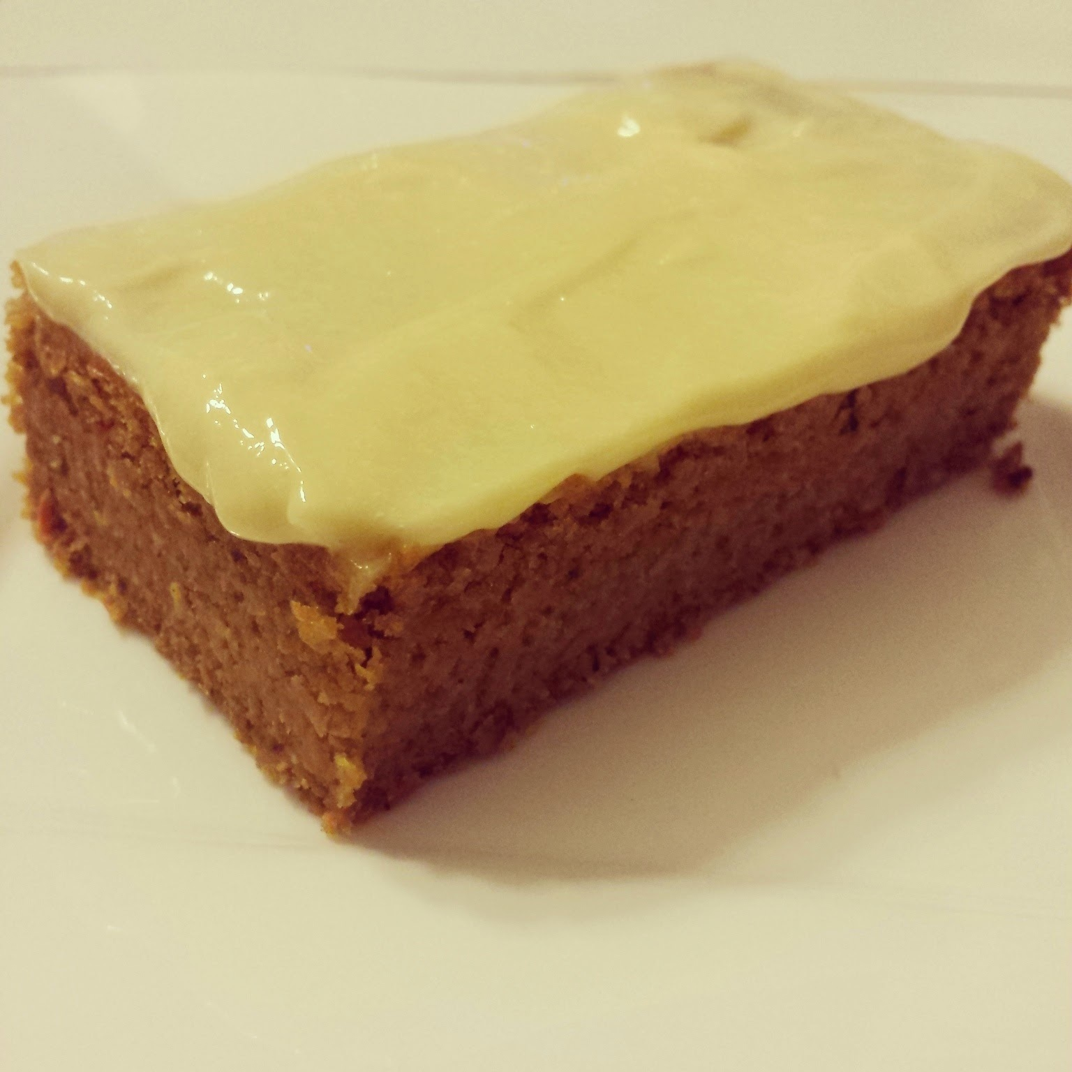 Carrot & Pecan Brownie Topped with Lemon Curd