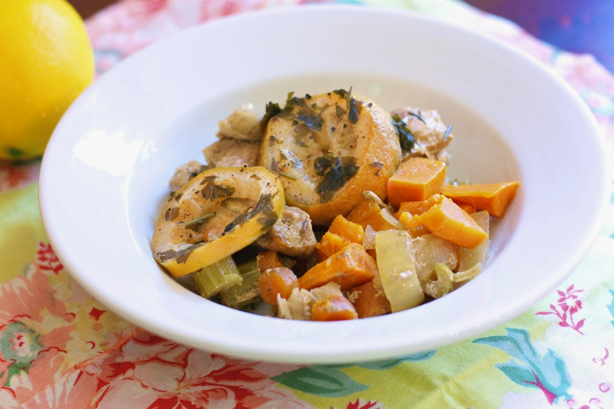 Slow Cooker Lemon Sweet Potato Chicken Inspired by Chicken in a Pot: The Garlic Lemon Version #French Fridays with Dorie