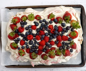 Rippled Pavlova with Lemon Curd Whipped Cream + Berries.