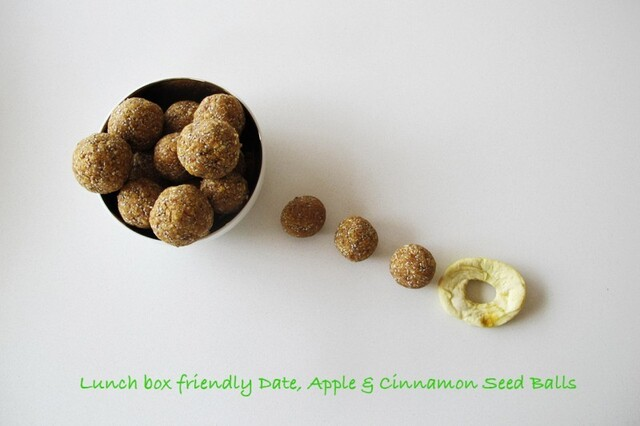 Lunch box friendly Date, Apple & Cinnamon Seed Balls