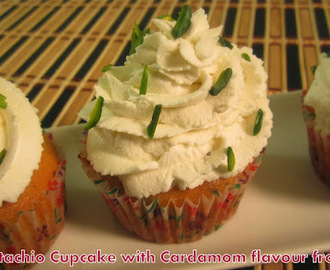 Pistachio Cupcake with Cardamom flavor frosting