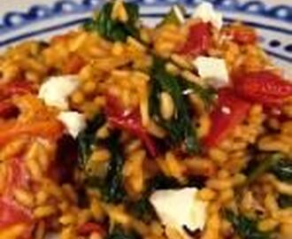 Paprika risotto met spinazie