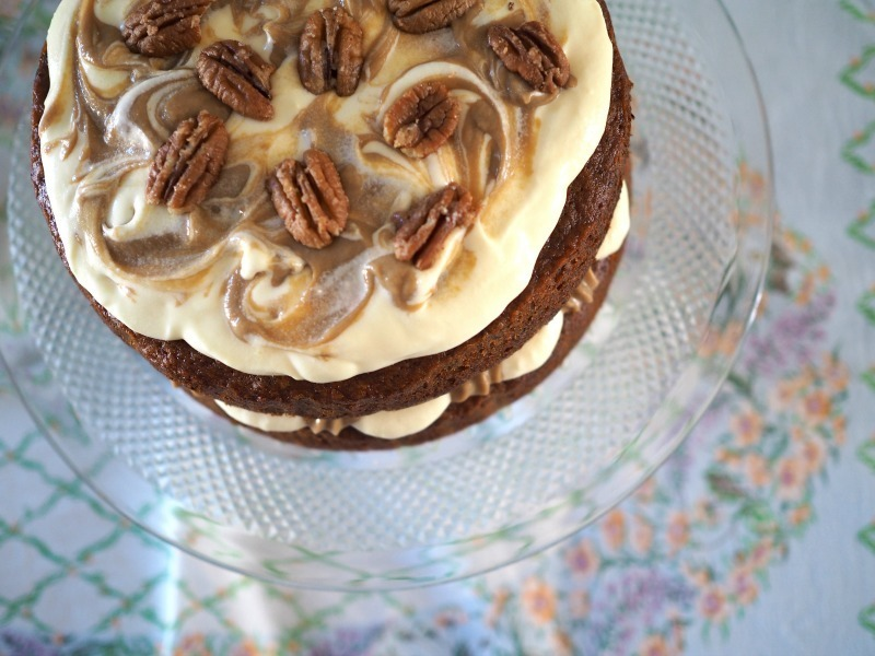 Sticky Date Cake with Caramel Custard and Cream Cheese Frosting