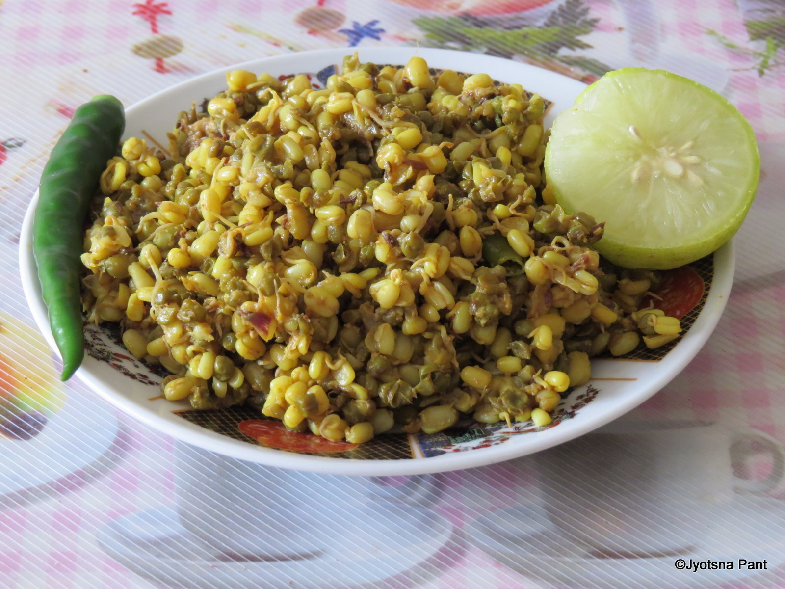Moong Sprout Ki Sabji (Indian Dry Savory Of Sprout Green Gram)