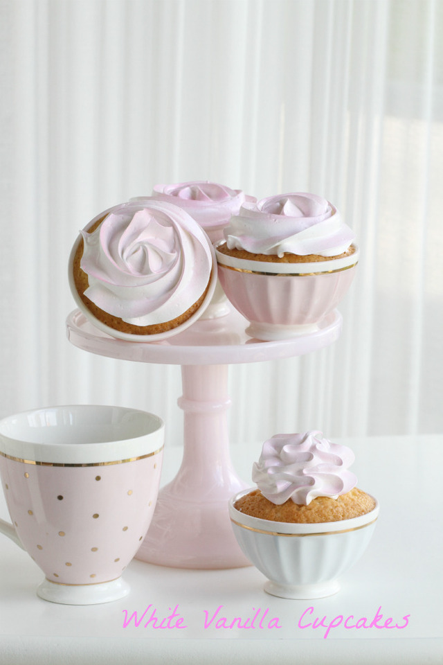 White Cupcakes with a touch of pink