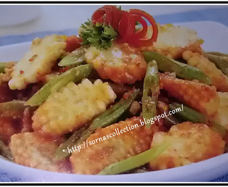 STIR-FRIED SPICY BABY CORN WITH PEANUTS