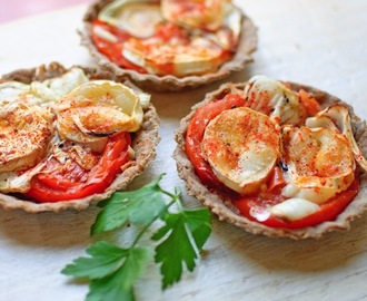 Tomato and goat cheese tart and upside down tortoises