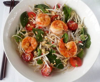Thai Glass Noodle Salad with Caramelised Prawns
