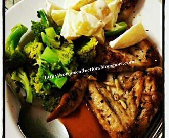 GRILLED CHICKEN WITH POTATO SALAD & BROCCOLI