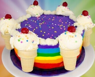 Easy to Make Rainbow Ice Cream Cake