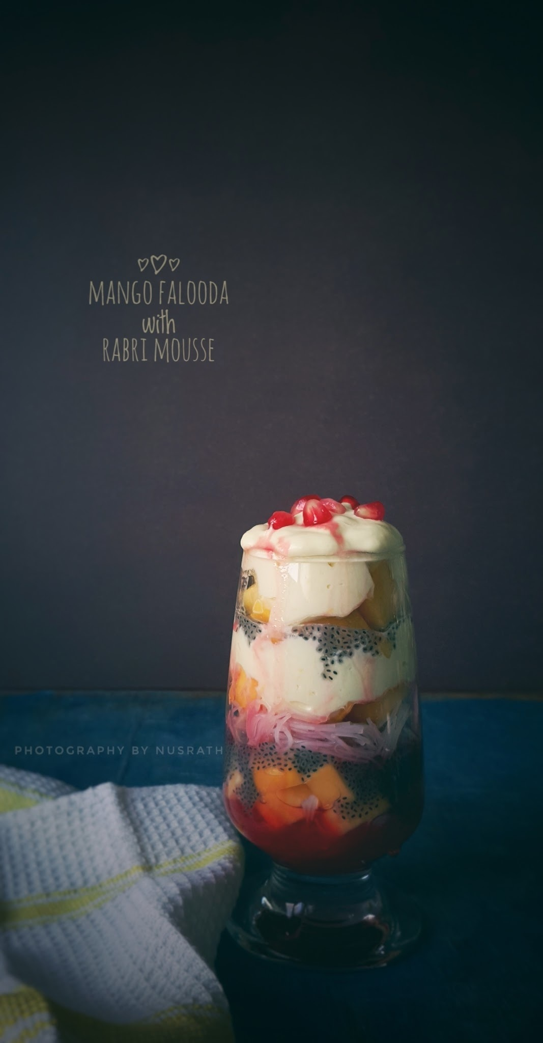 Mango falooda with kesar rabri mousse
