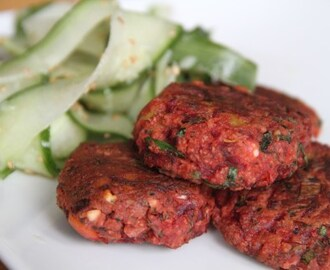 Beetroot, chipotle and feta fritters with Asian style cucumber salad