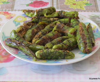 Rajasthani Bharwa Hari Mirch (Stuffed Green Chilies)