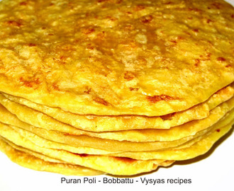 Puran Poli - Bobbatlu- Step Wise Pictures - obbattu recipe - holige recipe