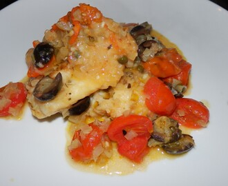 Cod with Tomatoes, Olives and Capers - Merluzzo alla Livornese