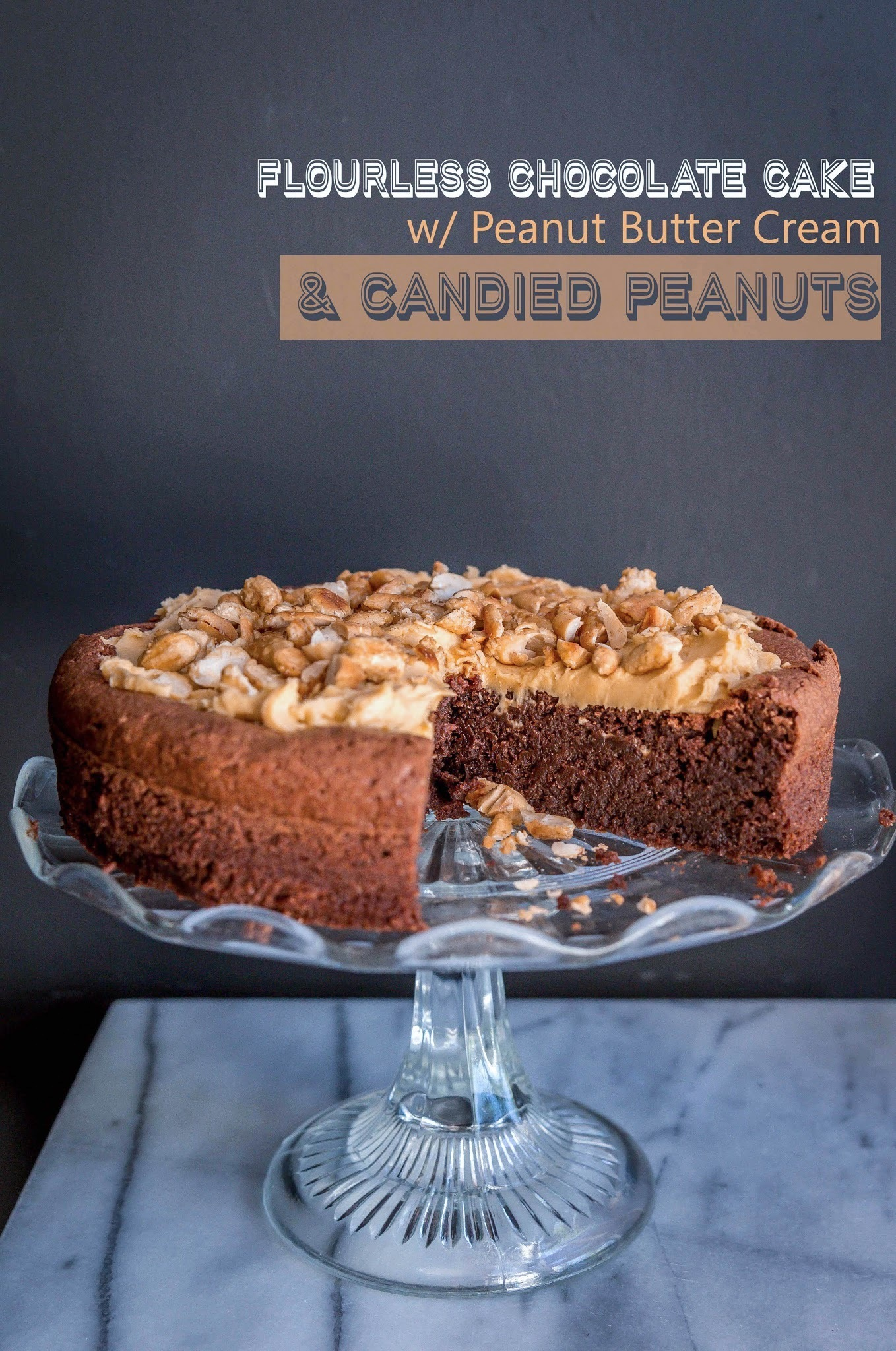 Flourless Chocolate Cake with Peanut Butter Cream and Candied Peanuts - Gluten Free