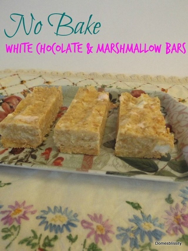 No Bake White Chocolate & Marshmallow Bars