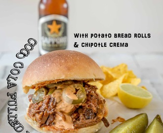 Coco Cola Pulled Brisket Sandwiches with Potato Bread Rolls and Chipotle Crema