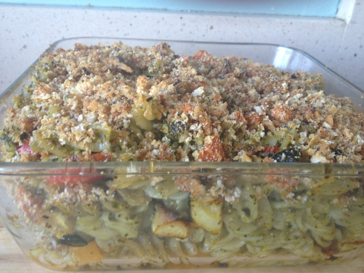 Possibly the tastiest pesto covered roast veg pasta bake..