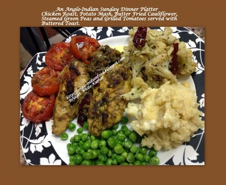 AN ANGLO-INDIAN FESTIVE DINNER PLATTER  - SAVOURY CHICKEN ROAST, MASH POTATOES, BUTTER FRIED CAULIFLOWER STEAMED GREEN PEAS AND GRILLED TOMATOES
