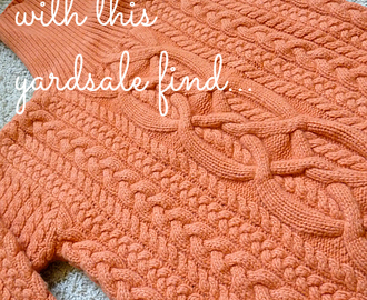 Orange Sweater Headband with a Burlap Flower
