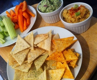 homemade dips with warburtons' escapes chips.