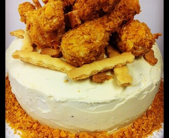 Fried Chicken Cake - Devils Food Cake with White Chocolate Tim Tam Cake Pops