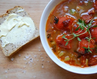 A Rainy Day Soup: Chorizo, lentil & roasted cherry tomatoes with thymes