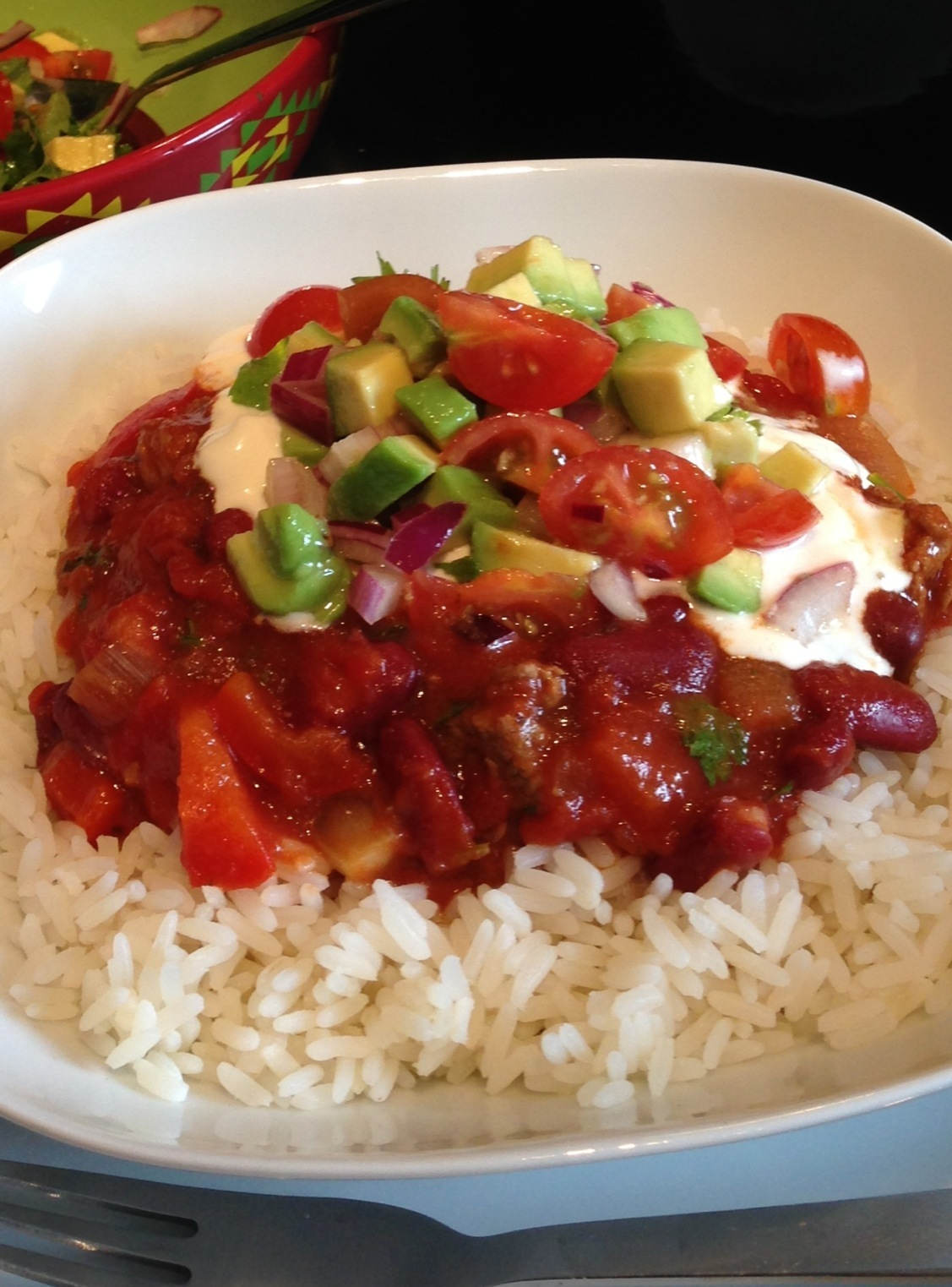 Black Bean Chilli with Avocado Salsa