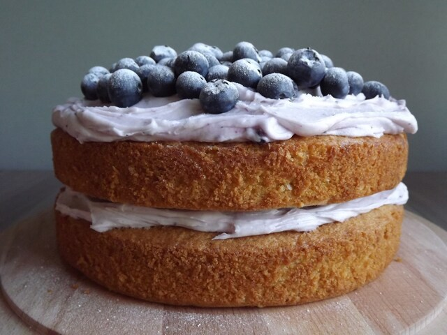 Hazelnut, Lemon and Blueberry Layer Cake