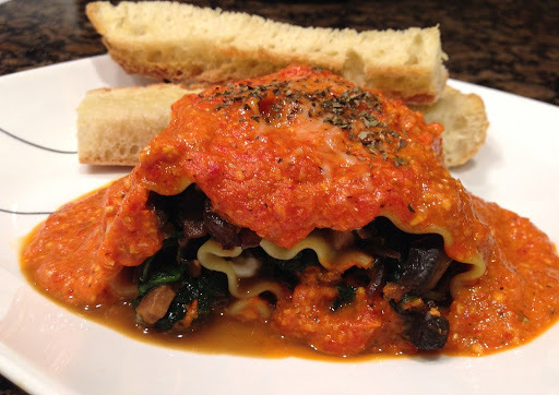 Low Calories Vegetarian Lasagna Rolls In Roasted Red Pepper Sauce