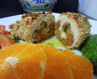 Bifes de Perú recheados em crosta de Sésamo /Turkey Steaks stuffed  on Sesame crust