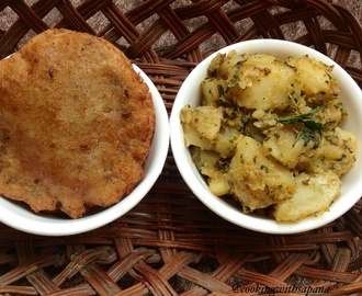 Dahi Pudina wale Aloo with Singhare ki Poori (Mint Yoghurt Potato with Water chest nut flour Bread )
