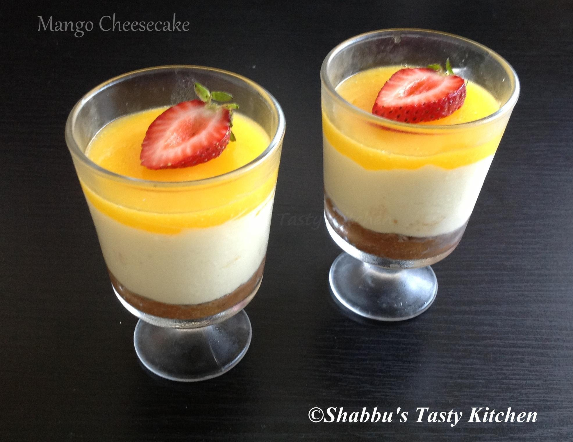 Eggless No Bake Mango Cheesecake