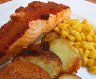 Salmon fillets roasted with red pesto