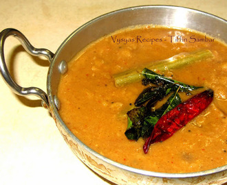 Tiffin Sambar Recipe - Hotel Style Tiffin Sambar - Idli Sambar Recipe - For idli,Dosa & Pongal