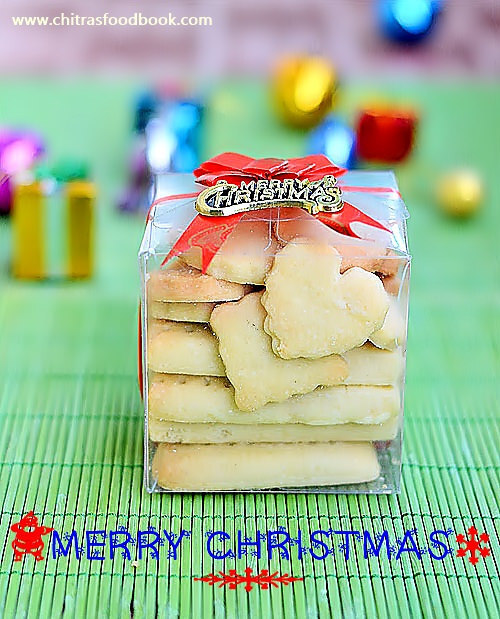 Easy Shortbread Cookies Recipe - Eggless Butter Biscuits - Christmas Recipes