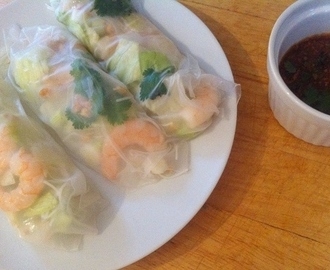 vietnamese summer rolls with a peanut and chilli dipping sauce.