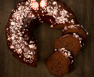 Chocolate & Candy Cane Bundt Cake