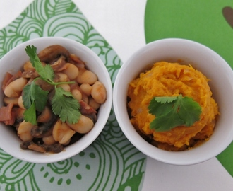 Sweet Potato Mash with Home Made Baked Beans