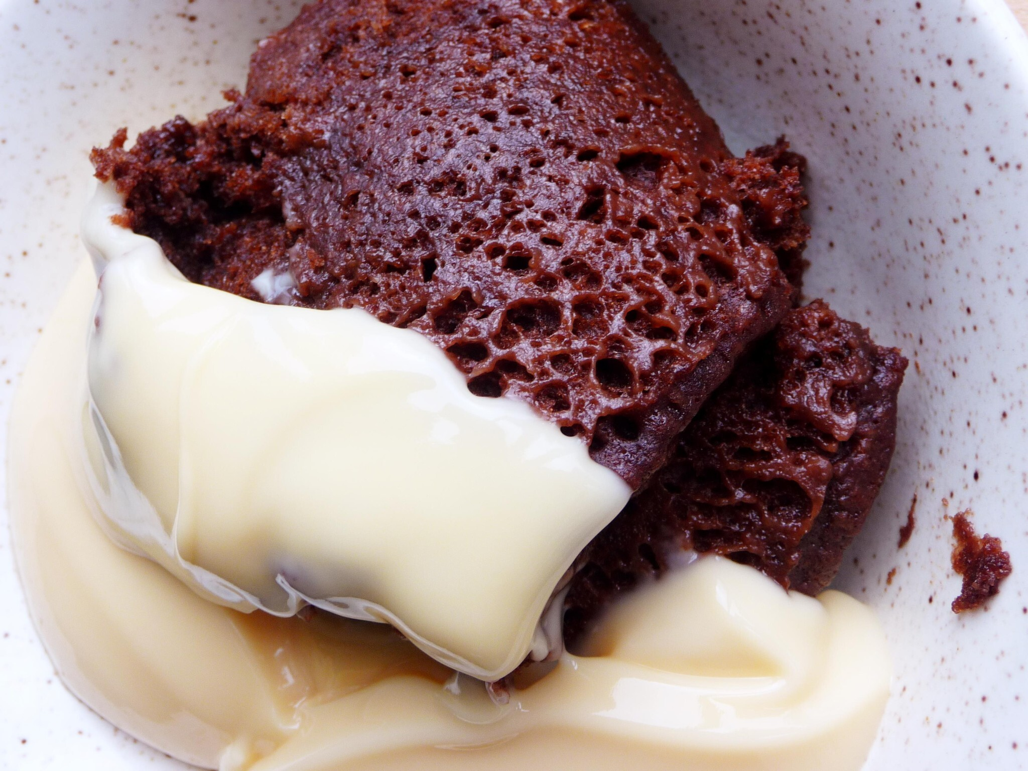 Five minute microwave chocolate pudding