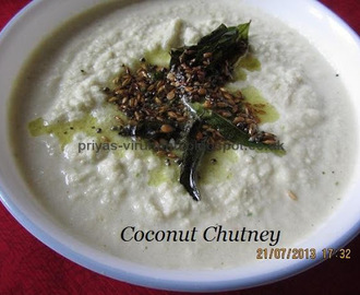 Coconut Chutney/Thengai Chutney [for Idlis & dosas]
