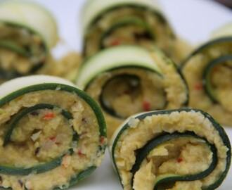 Canapés ? Courgette rolls filled with saffron and spice cauliflower and broad beans