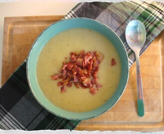 Potato and Leek Soup with Oven-Fried Bacon