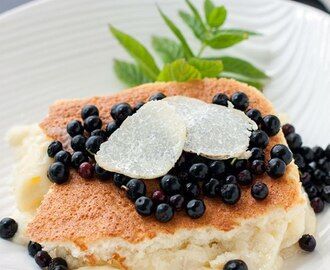 Honey Truffle Sponge Pudding Cake with Wild Berries