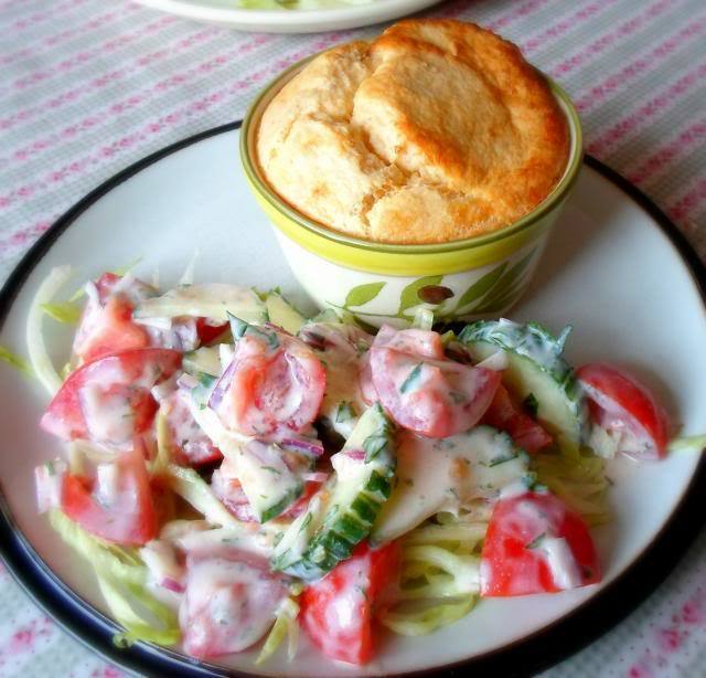 Little Goats Cheese Souffle's with a Tomato and Cucumber Salad